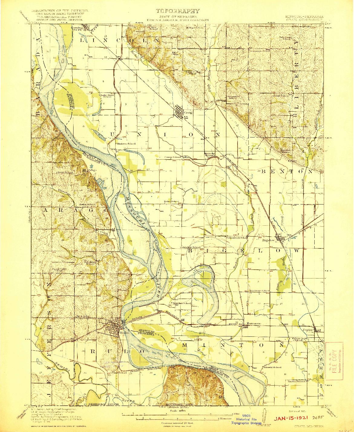 USGS 1:62500-SCALE QUADRANGLE FOR CRAIG, MO 1920