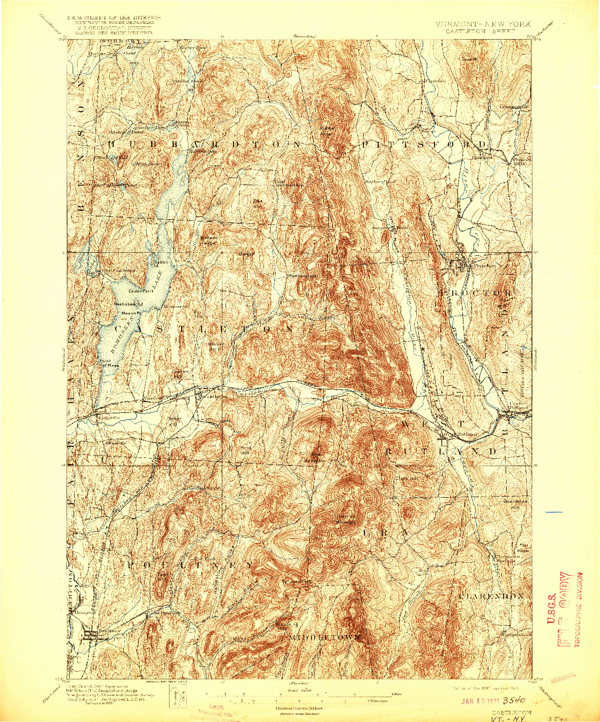 USGS 1:62500-SCALE QUADRANGLE FOR CASTLETON, VT 1897