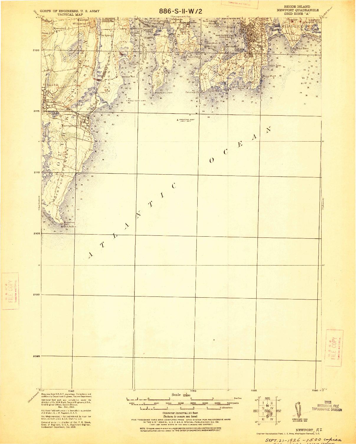 USGS 1:62500-SCALE QUADRANGLE FOR NEWPORT, RI 1920