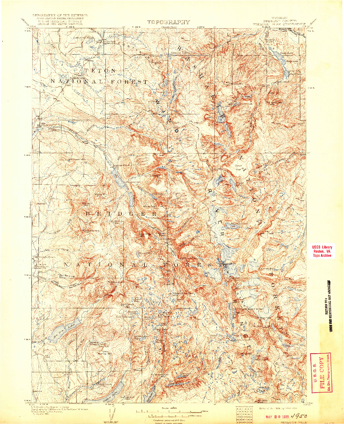 USGS 1:125000-SCALE QUADRANGLE FOR FREMONT PEAK, WY 1909