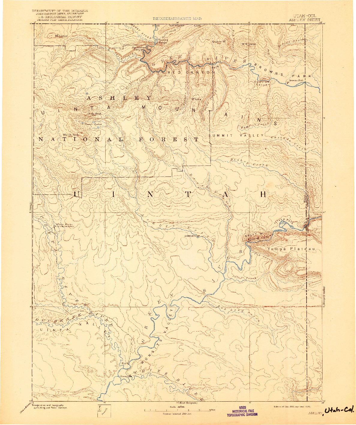 USGS 1:250000-SCALE QUADRANGLE FOR ASHLEY, UT 1885