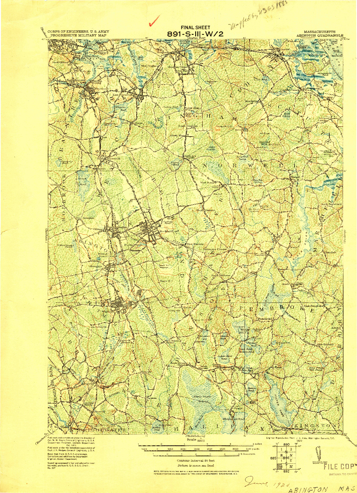 USGS 1:62500-SCALE QUADRANGLE FOR ABINGTON, MA 1920