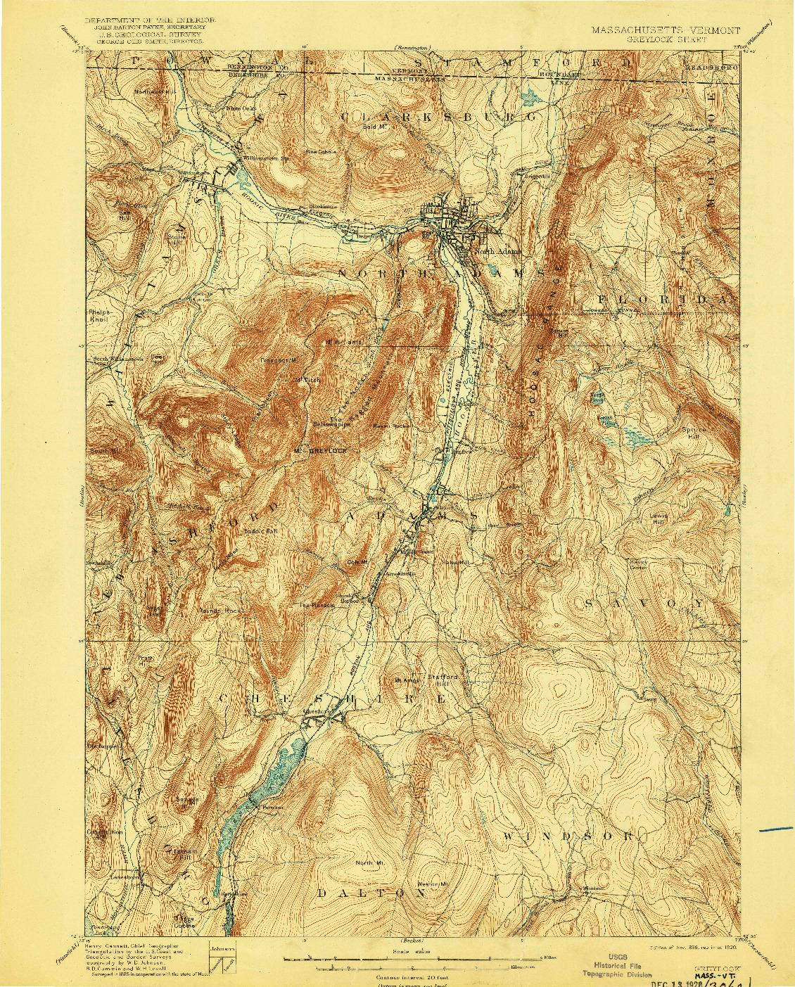 USGS 1:62500-SCALE QUADRANGLE FOR GREYLOCK, MA 1898