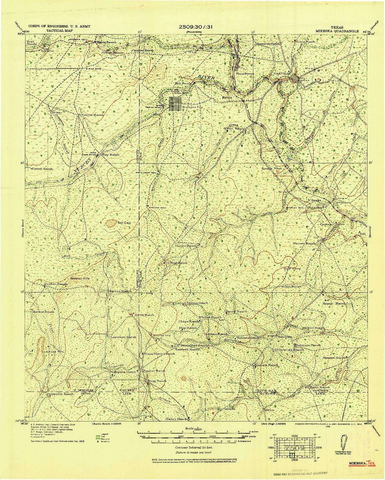 USGS 1:125000-SCALE QUADRANGLE FOR MIKESKA, TX 1920