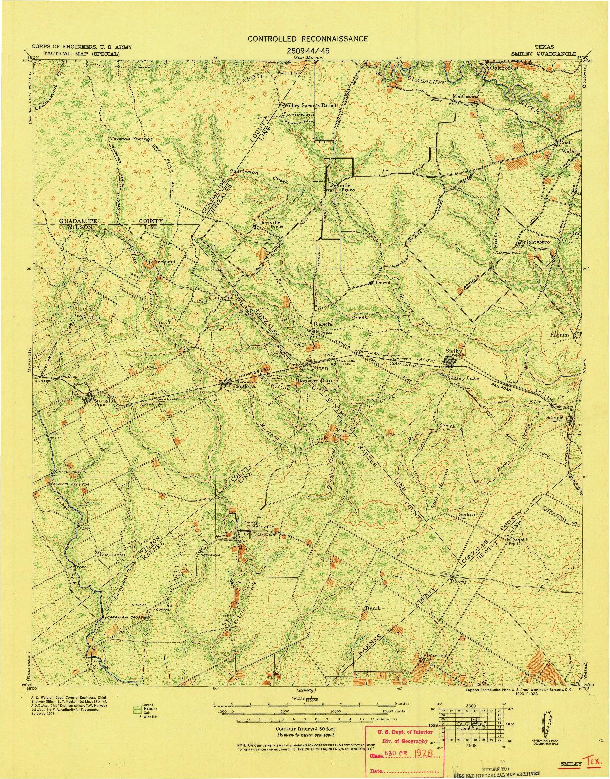 USGS 1:125000-SCALE QUADRANGLE FOR SMILEY, TX 1920