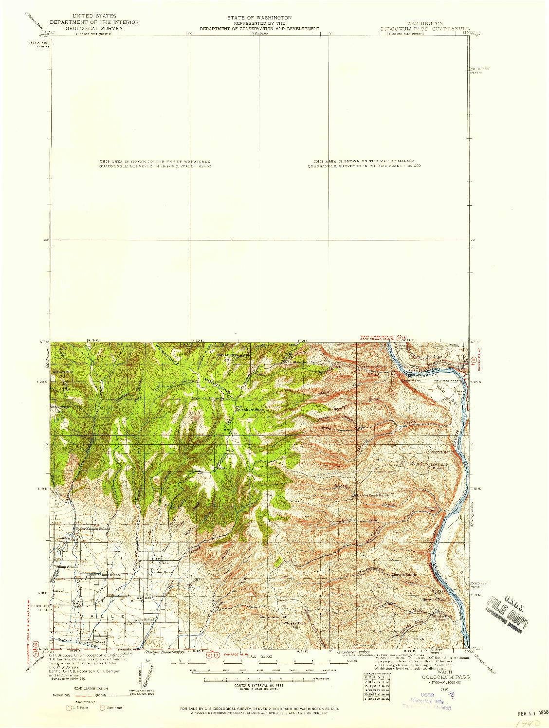 USGS 1:125000-SCALE QUADRANGLE FOR COLOCKUM PASS, WA 1920