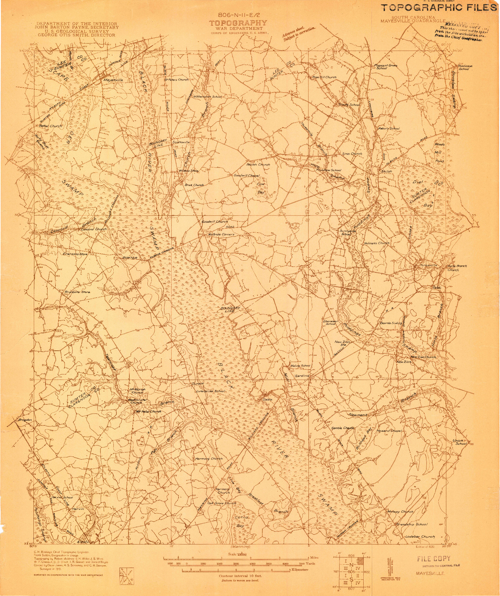 USGS 1:48000-SCALE QUADRANGLE FOR MAYESVILLE, SC 1920
