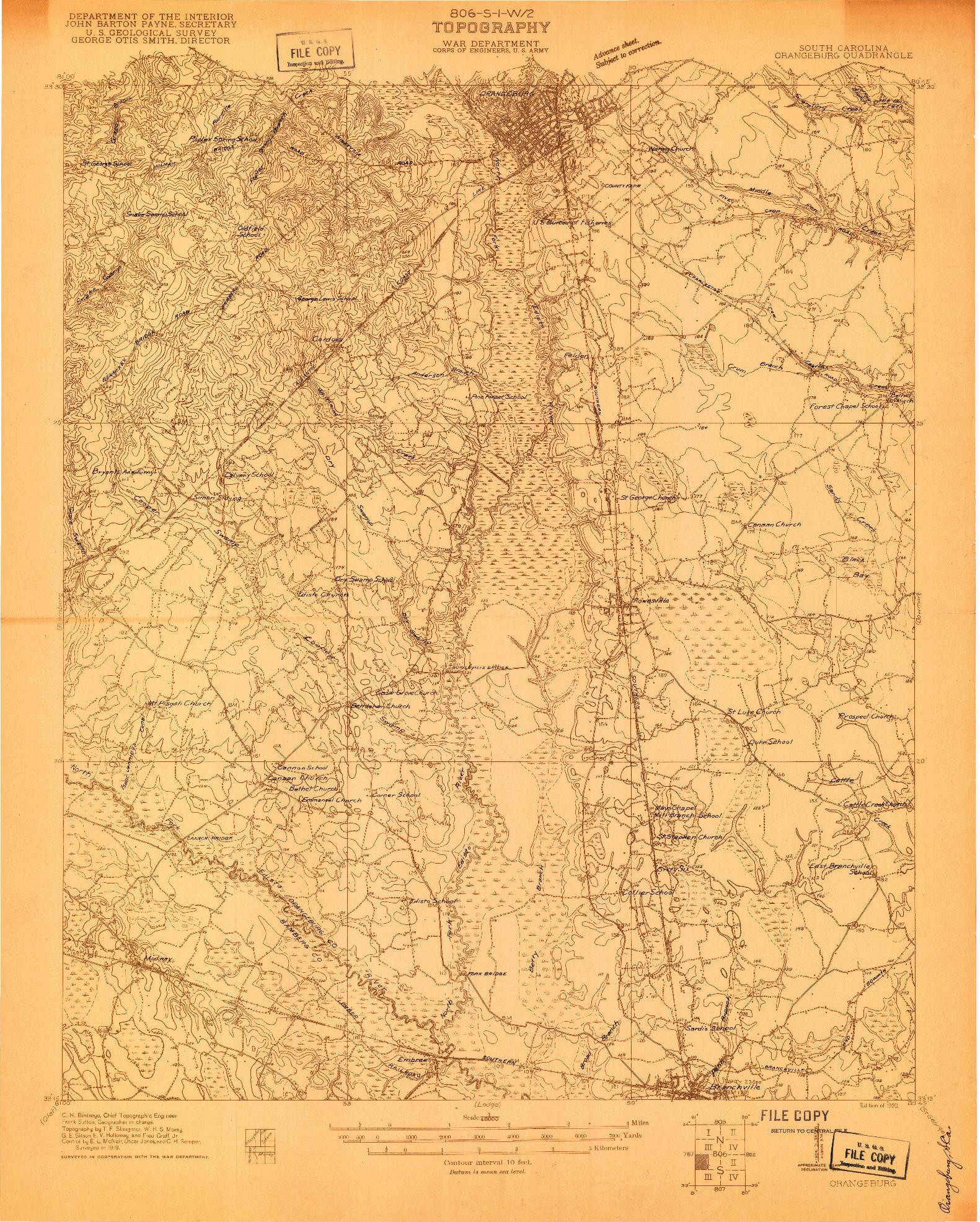 USGS 1:48000-SCALE QUADRANGLE FOR ORANGEBURG, SC 1920