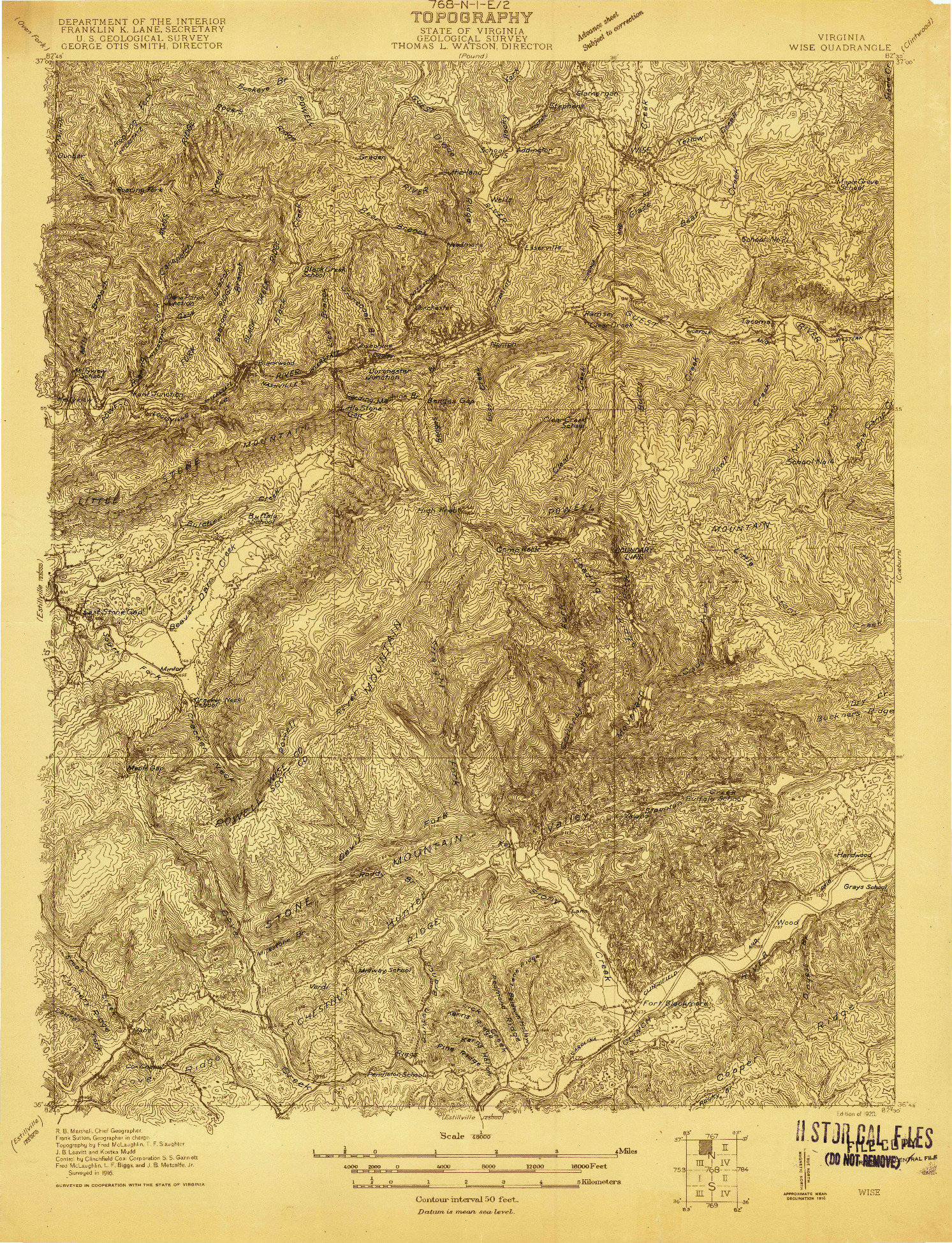 USGS 1:48000-SCALE QUADRANGLE FOR WISE, VA 1920