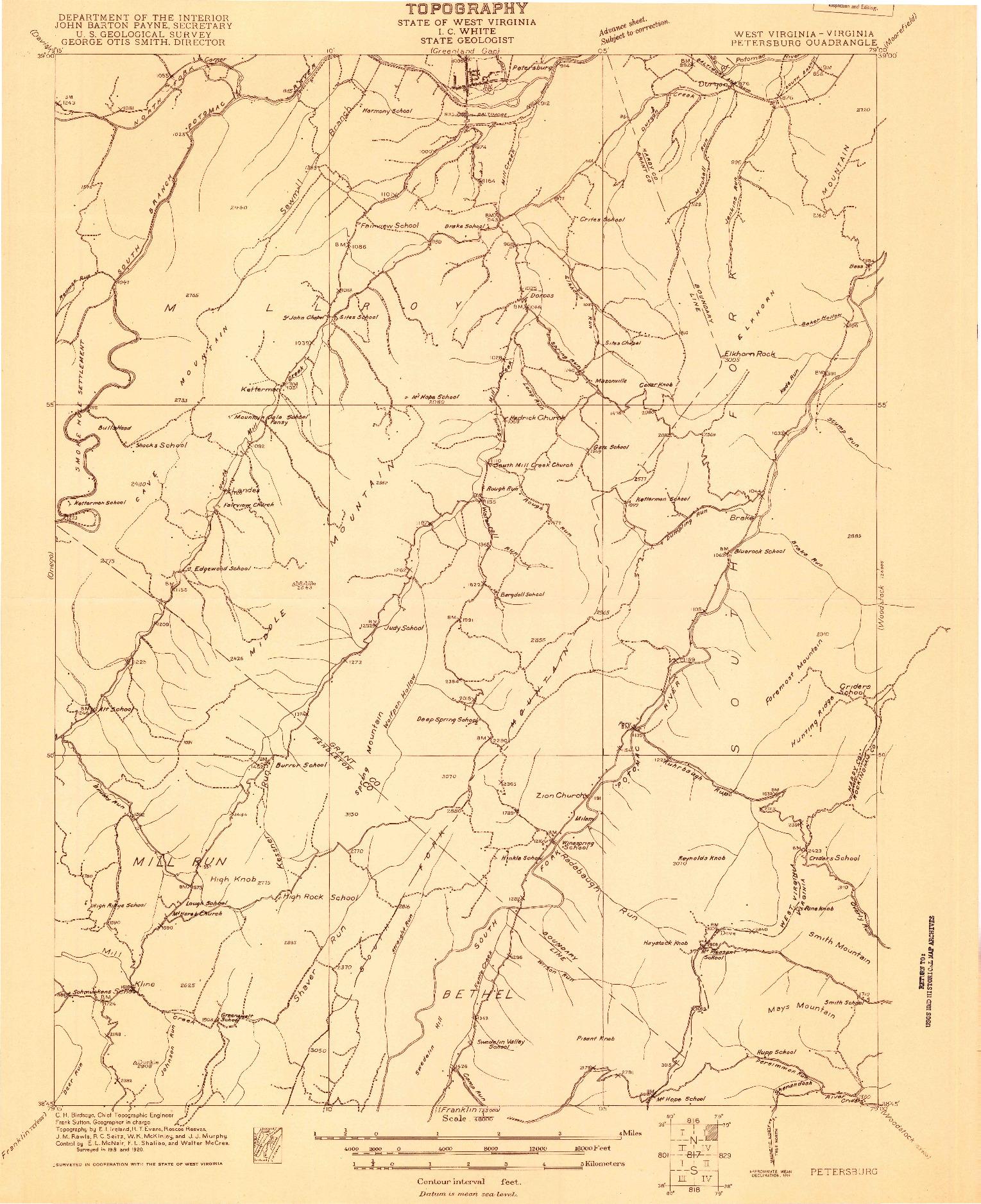 USGS 1:48000-SCALE QUADRANGLE FOR PETERSBURG, WV 1920