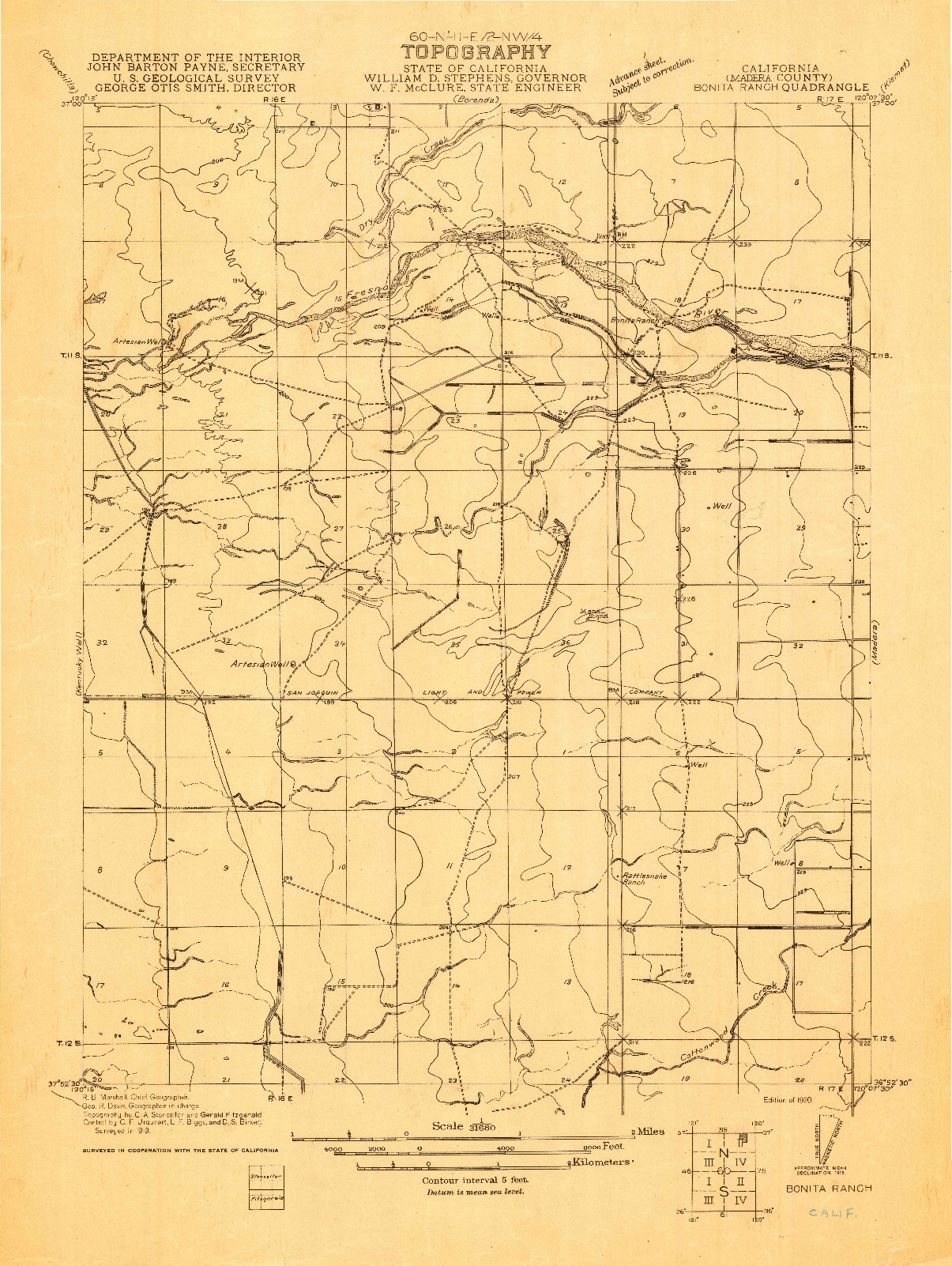 USGS 1:31680-SCALE QUADRANGLE FOR BONITA RANCH, CA 1920