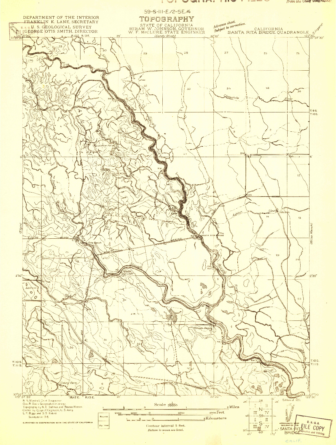USGS 1:31680-SCALE QUADRANGLE FOR SANTA RITA BRIDGE, CA 1920