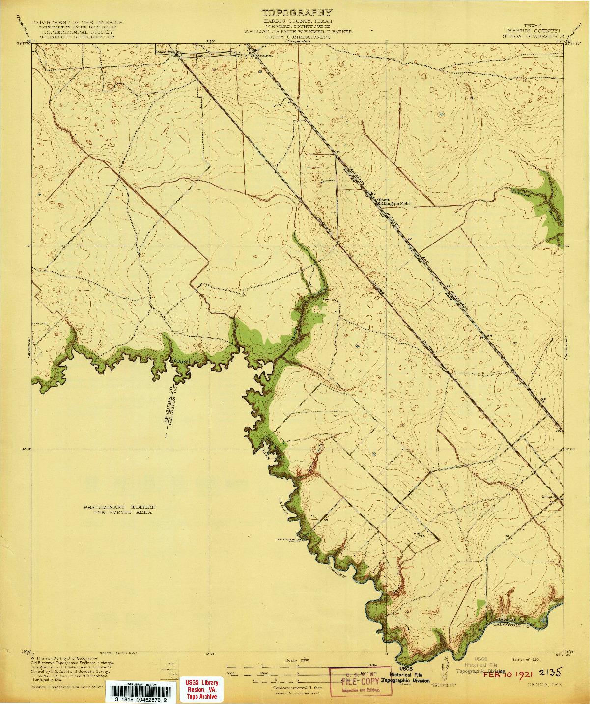 USGS 1:31680-SCALE QUADRANGLE FOR GENOA, TX 1920