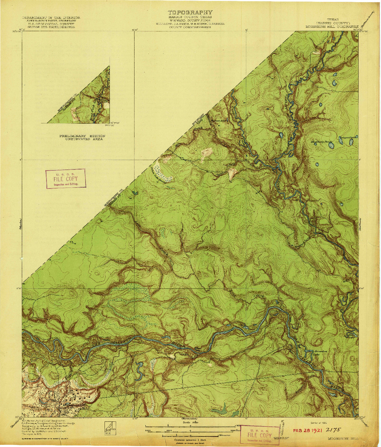 USGS 1:31680-SCALE QUADRANGLE FOR MOONSHINE HILL, TX 1920