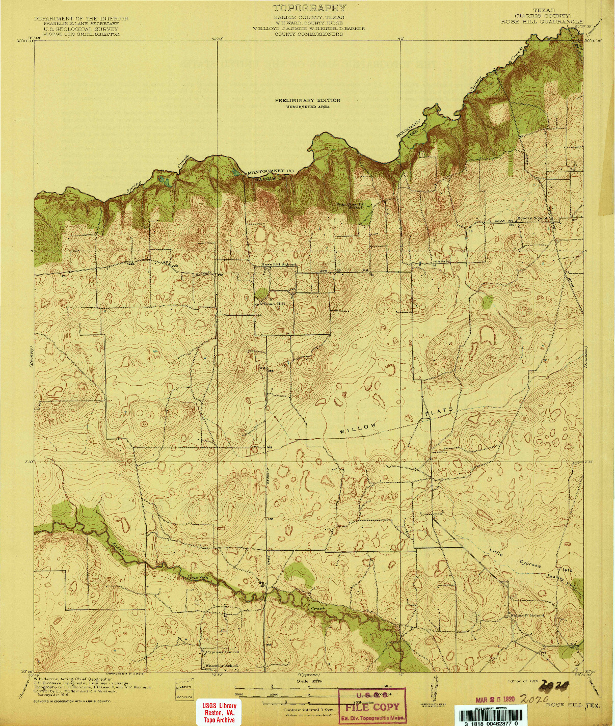 USGS 1:31680-SCALE QUADRANGLE FOR ROSE HILL, TX 1920