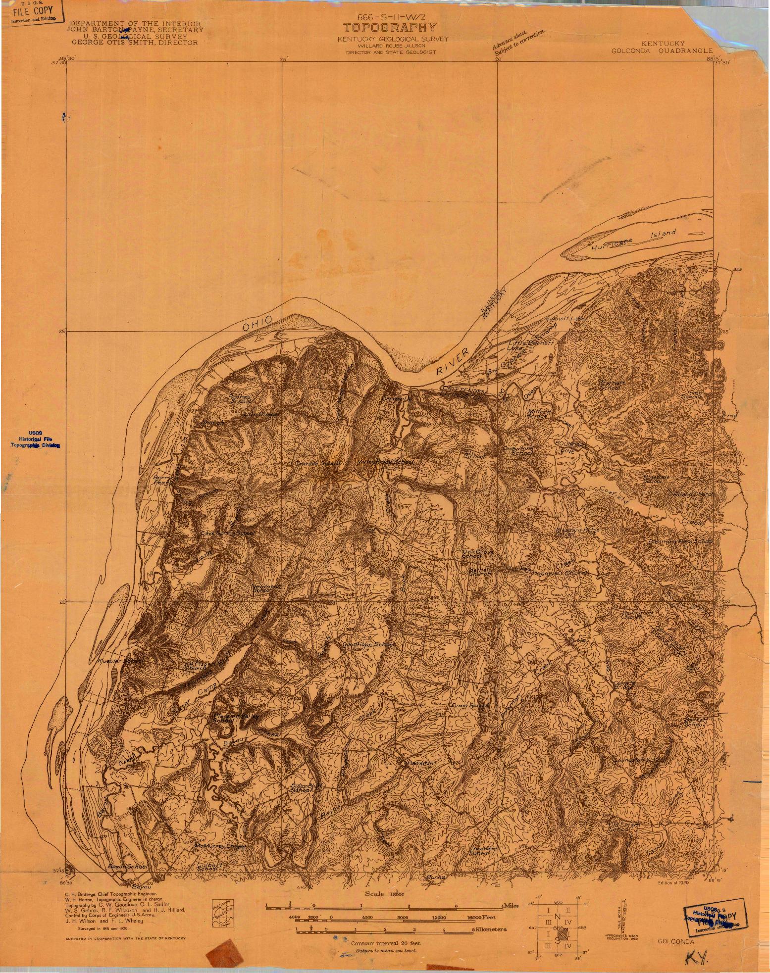 USGS 1:48000-SCALE QUADRANGLE FOR GOLOONDA, KY 1920