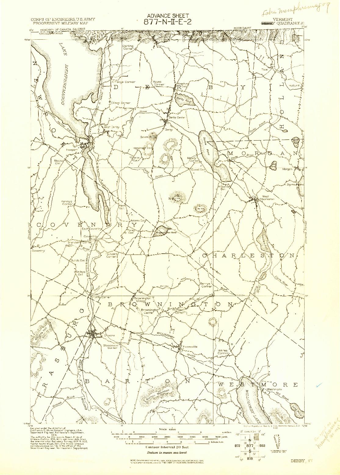USGS 1:62500-SCALE QUADRANGLE FOR DERBY, VT 1920