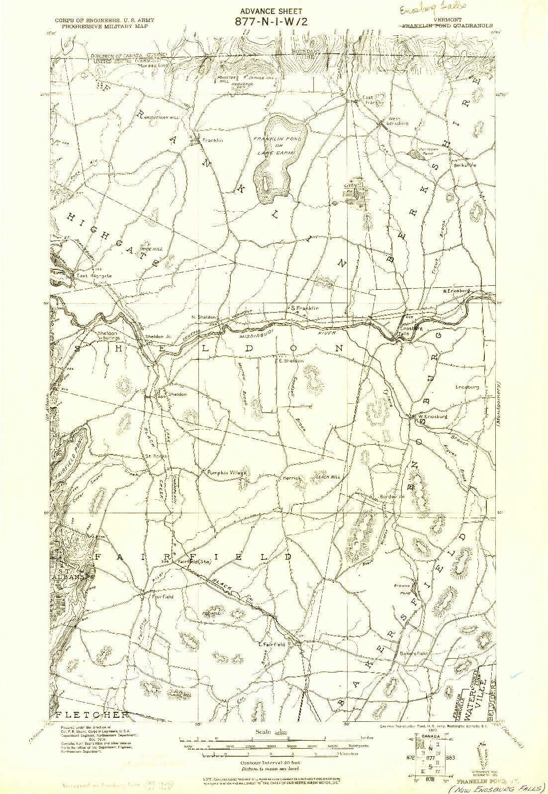 USGS 1:62500-SCALE QUADRANGLE FOR FRANKLIN POND, VT 1920
