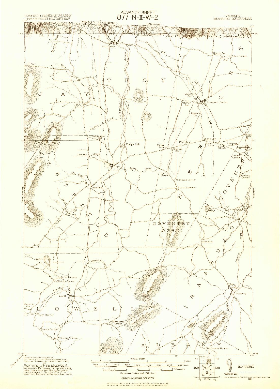 USGS 1:62500-SCALE QUADRANGLE FOR IRASBURG, VT 1920