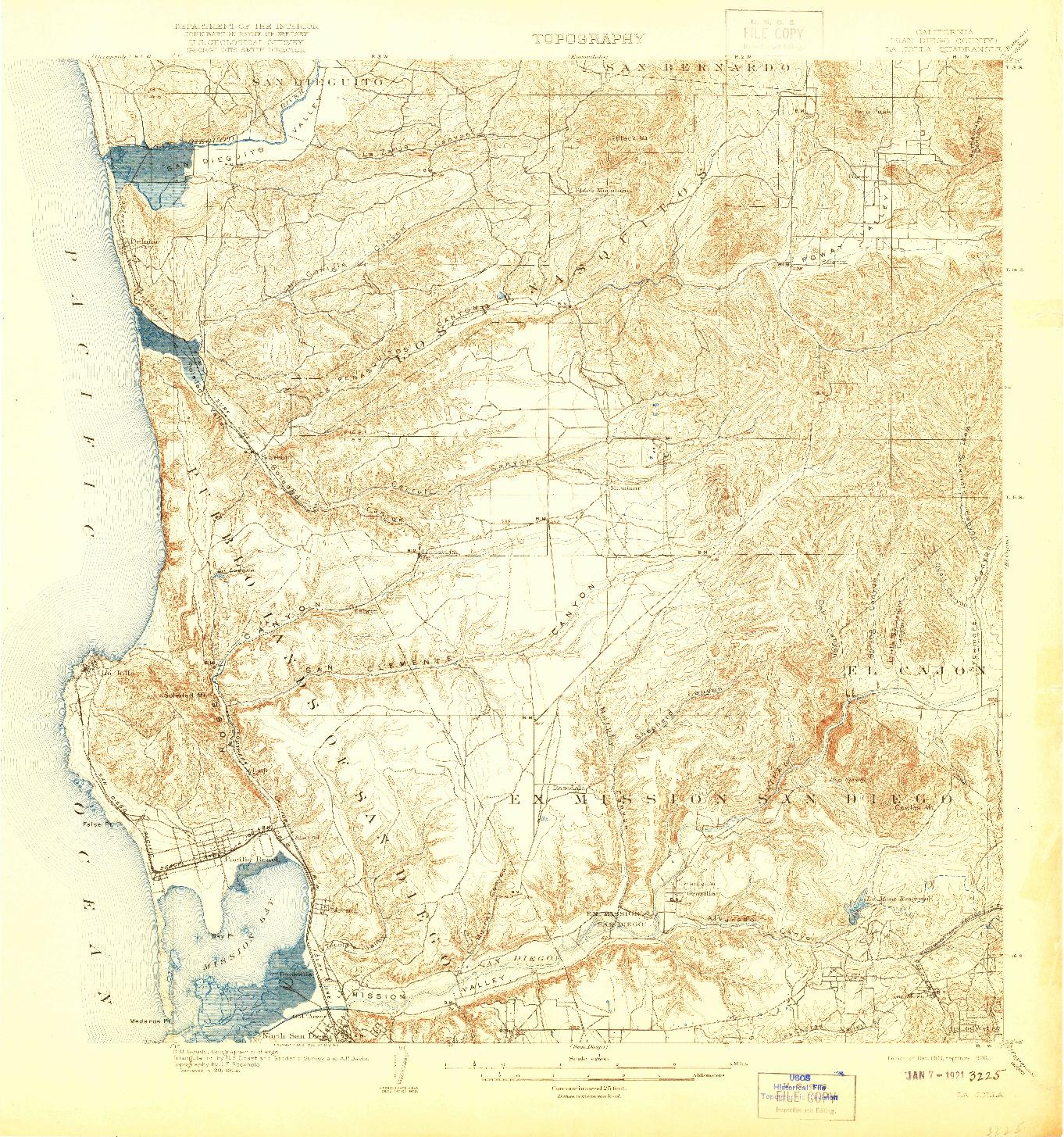 USGS 1:62500-SCALE QUADRANGLE FOR LA JOLLA, CA 1903