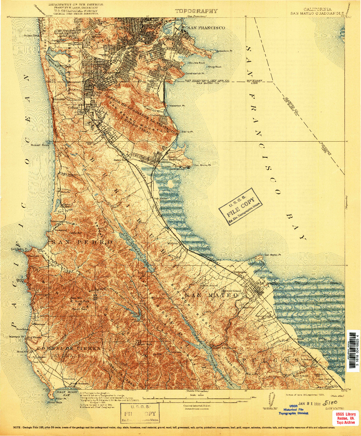USGS 1:62500-SCALE QUADRANGLE FOR SAN MATEO, CA 1915