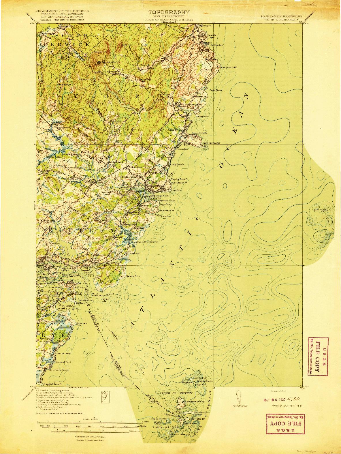 USGS 1:62500-SCALE QUADRANGLE FOR YORK, ME 1920