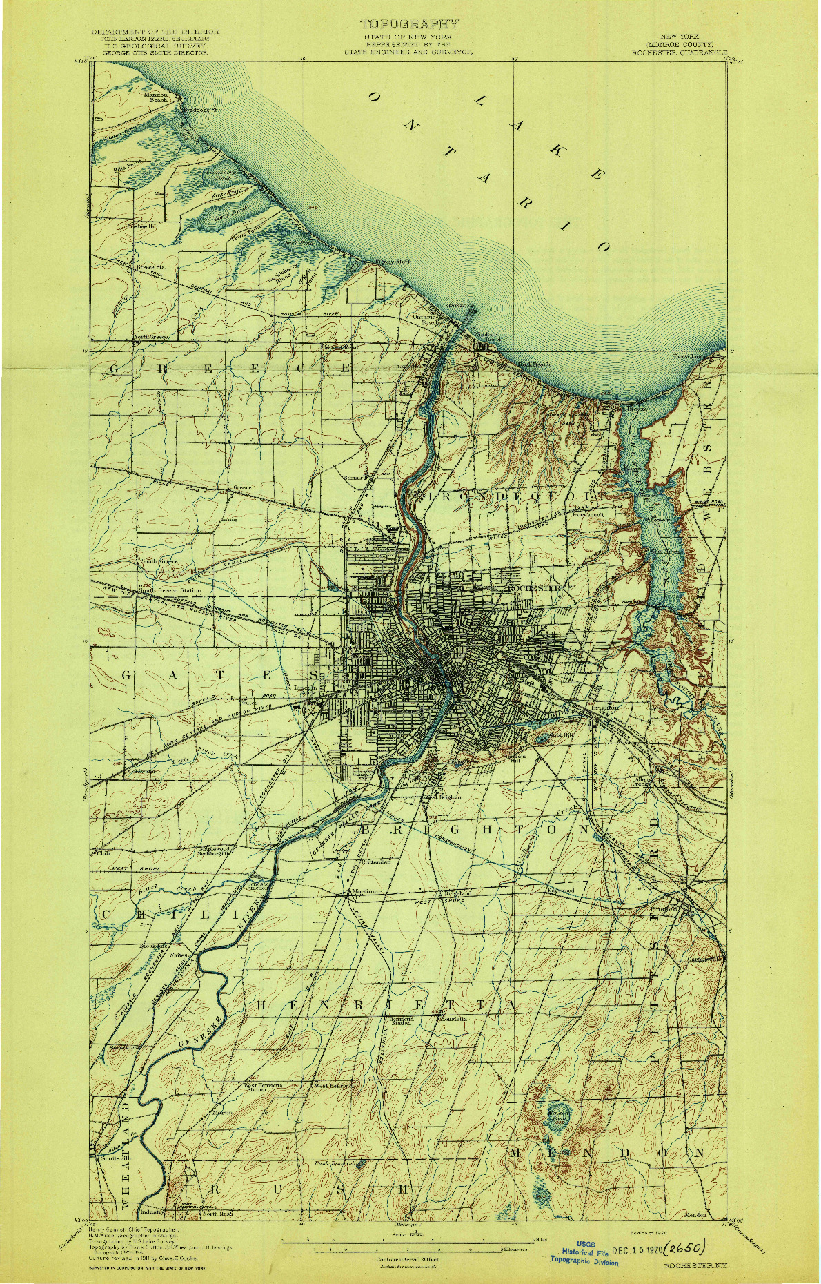 USGS 1:62500-SCALE QUADRANGLE FOR ROCHESTER, NY 1920
