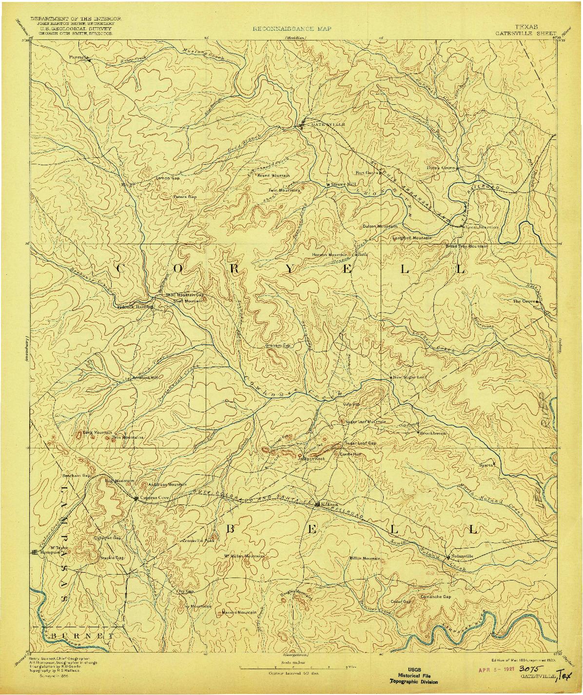 USGS 1:125000-SCALE QUADRANGLE FOR GATESVILLE, TX 1894