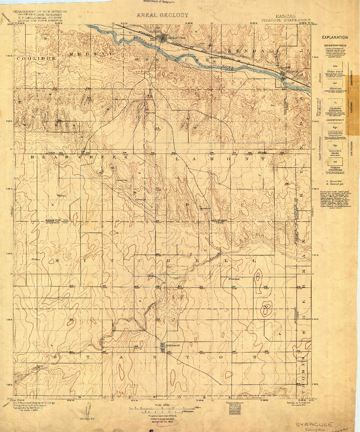 USGS 1:125000-SCALE QUADRANGLE FOR SYRACUSE, KS 1920