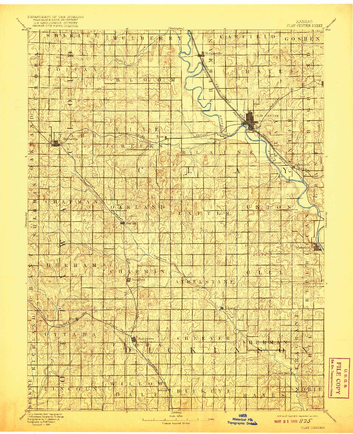 USGS 1:125000-SCALE QUADRANGLE FOR CLAY CENTER, KS 1891
