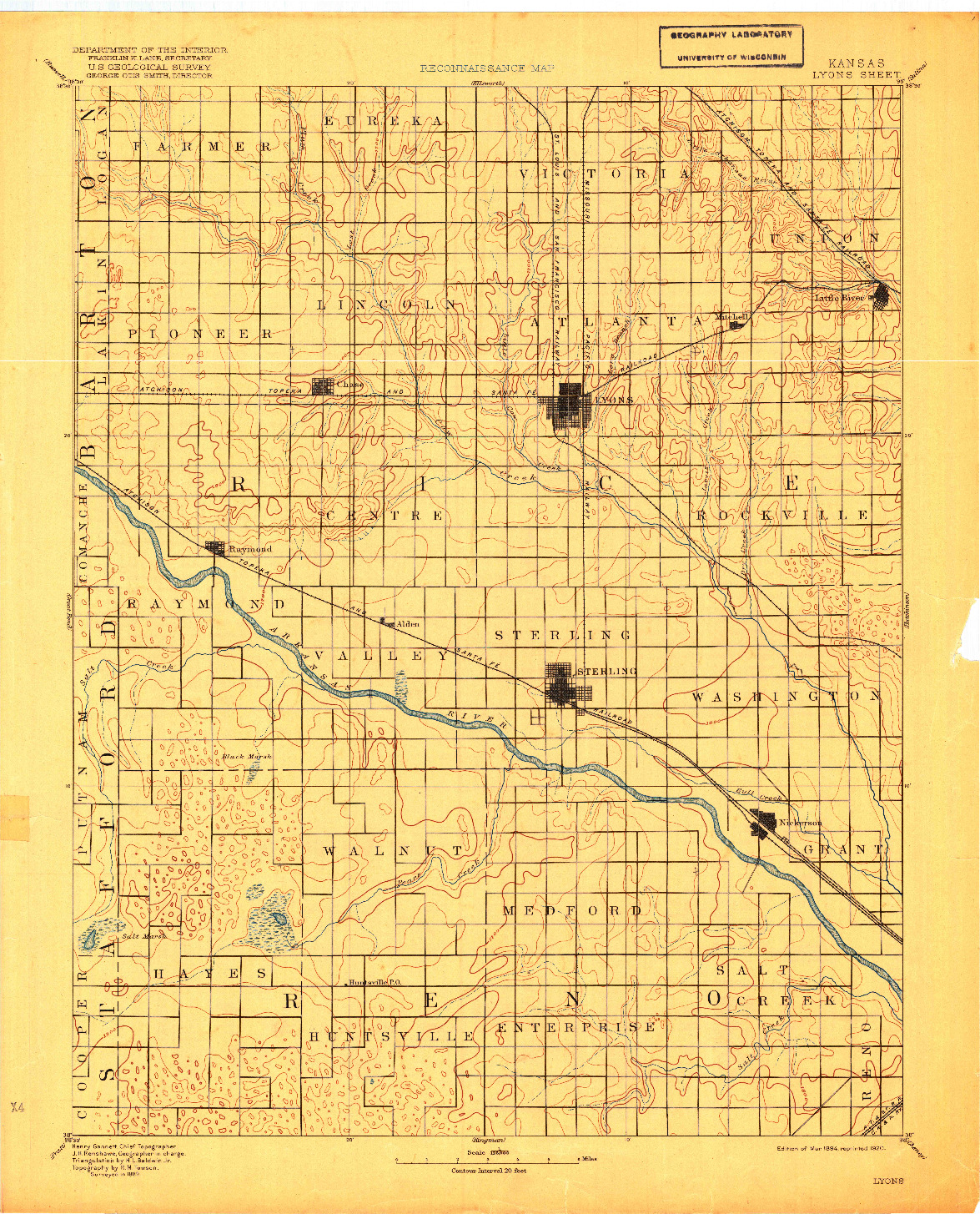 USGS 1:125000-SCALE QUADRANGLE FOR LYONS, KS 1894
