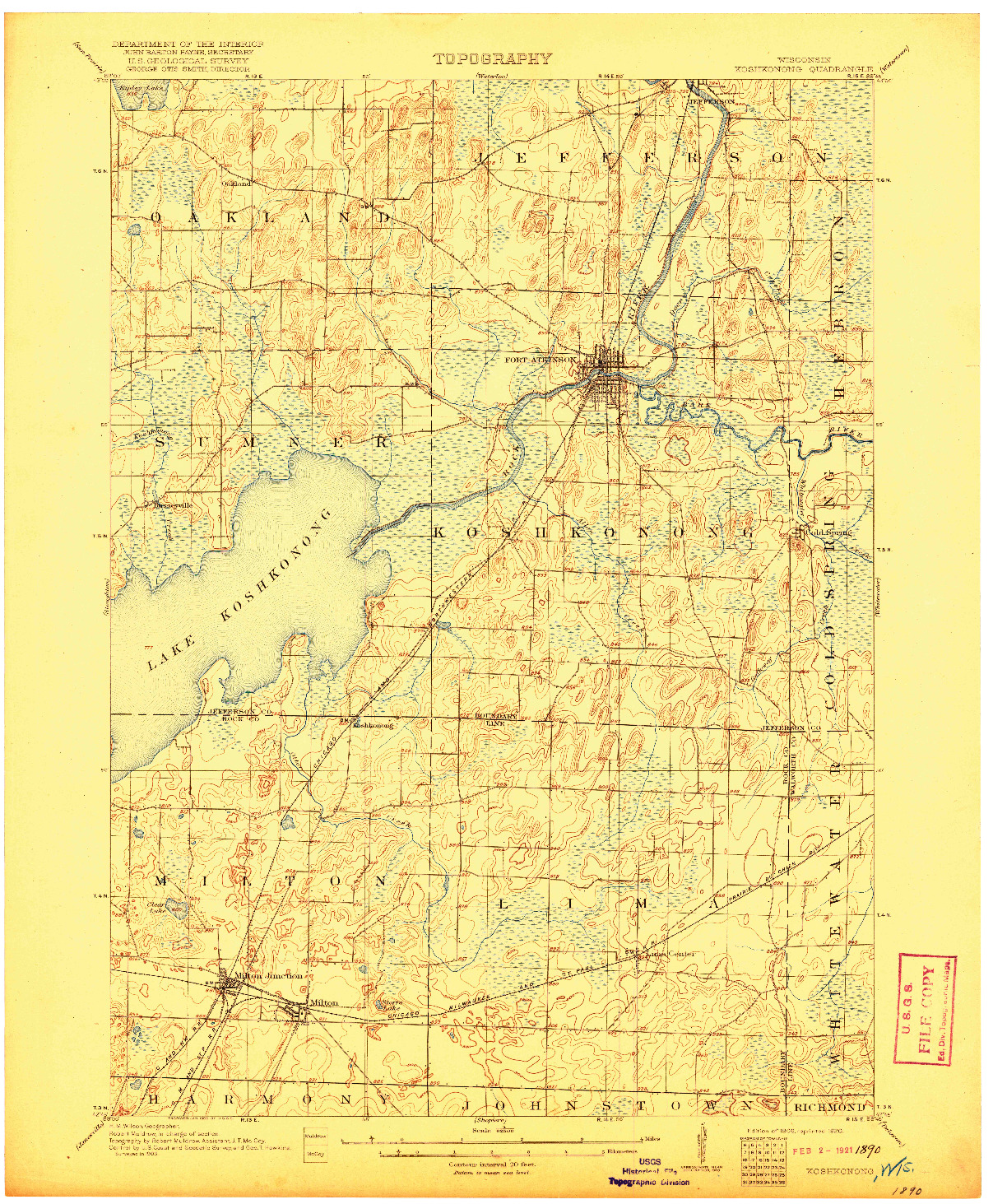 USGS 1:62500-SCALE QUADRANGLE FOR KOSHKONONG, WI 1906