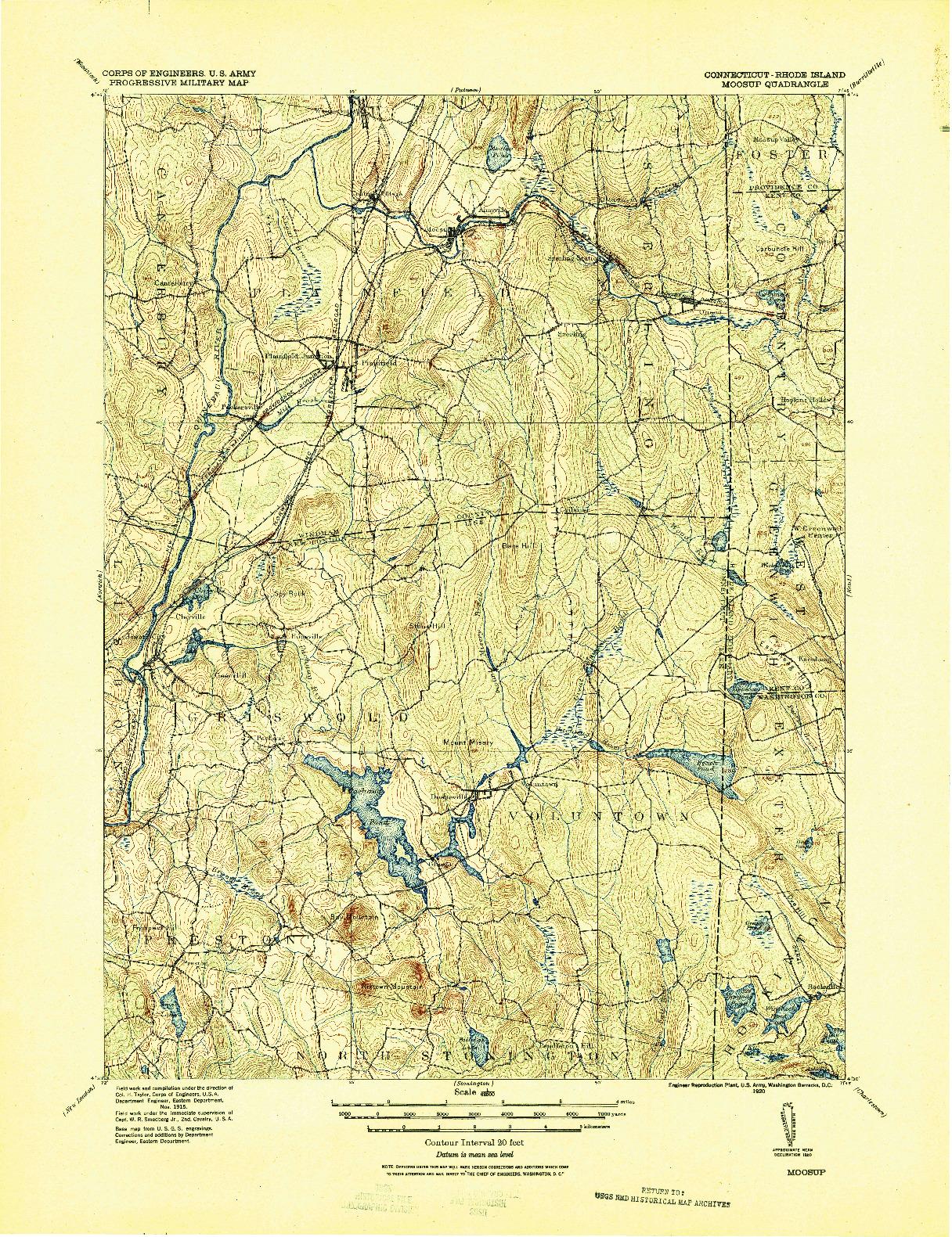 USGS 1:62500-SCALE QUADRANGLE FOR MOOSUP, CT 1920
