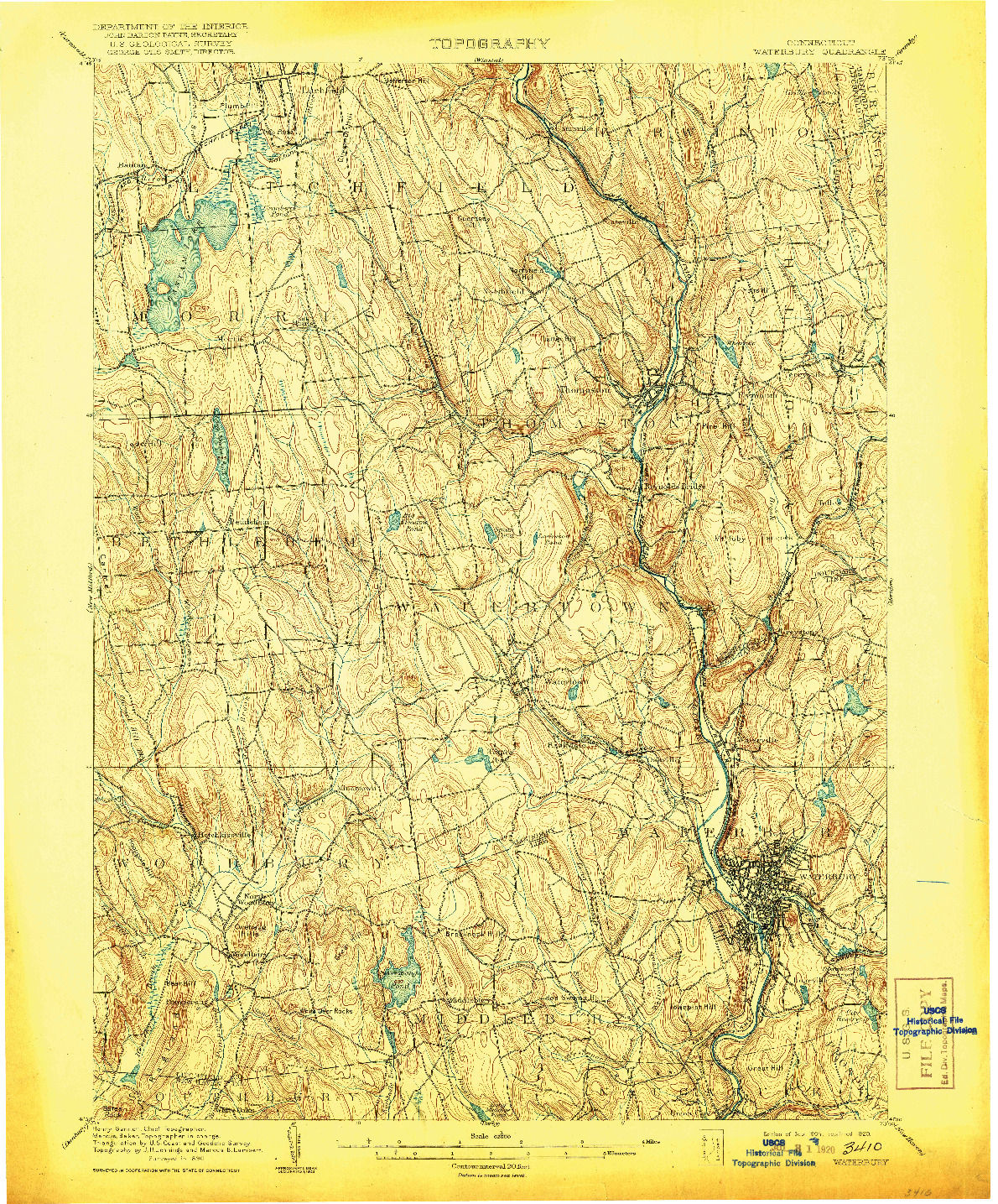 USGS 1:62500-SCALE QUADRANGLE FOR WATERBURY, CT 1904