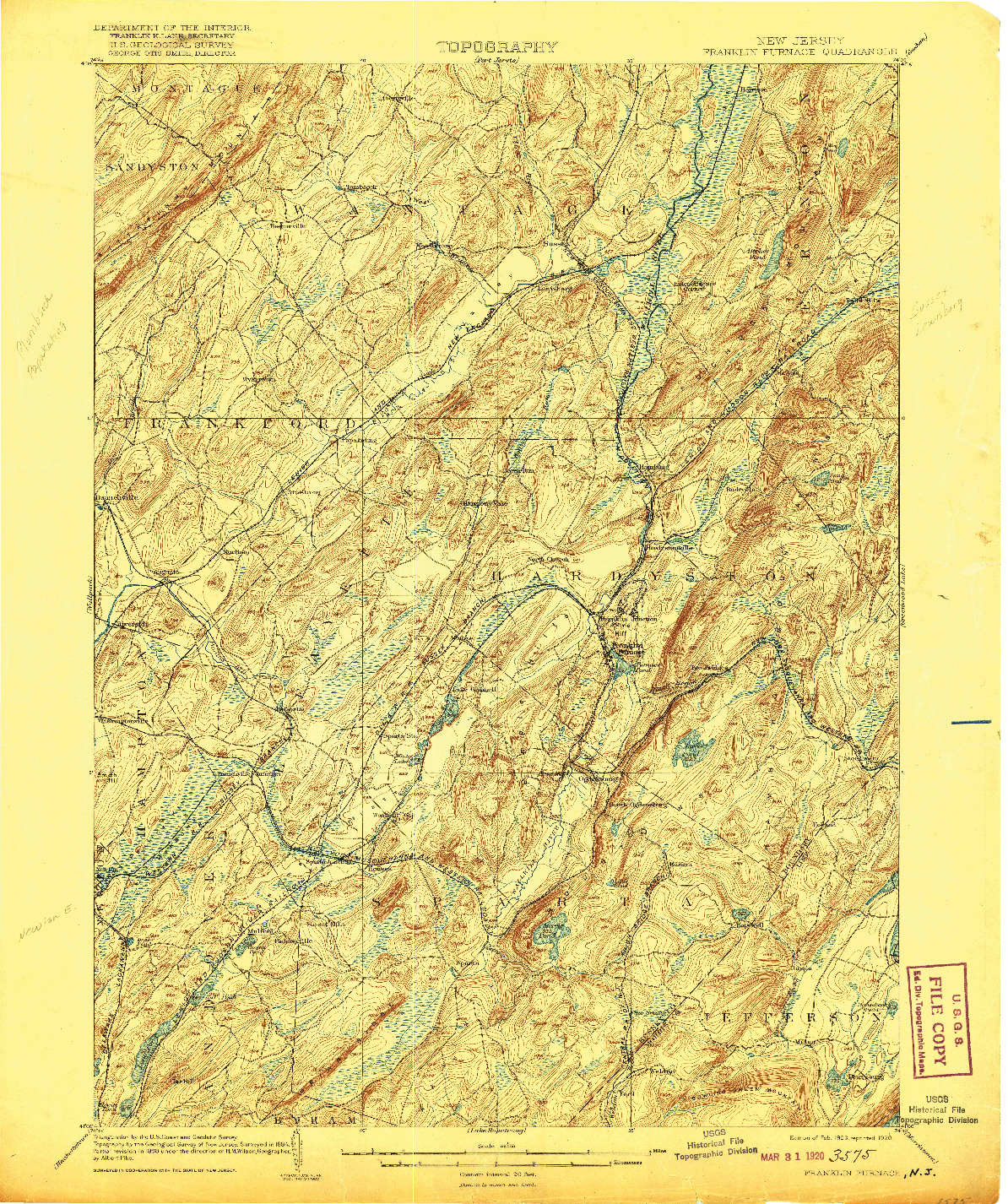 USGS 1:62500-SCALE QUADRANGLE FOR FRANKLIN FURNACE, NJ 1903