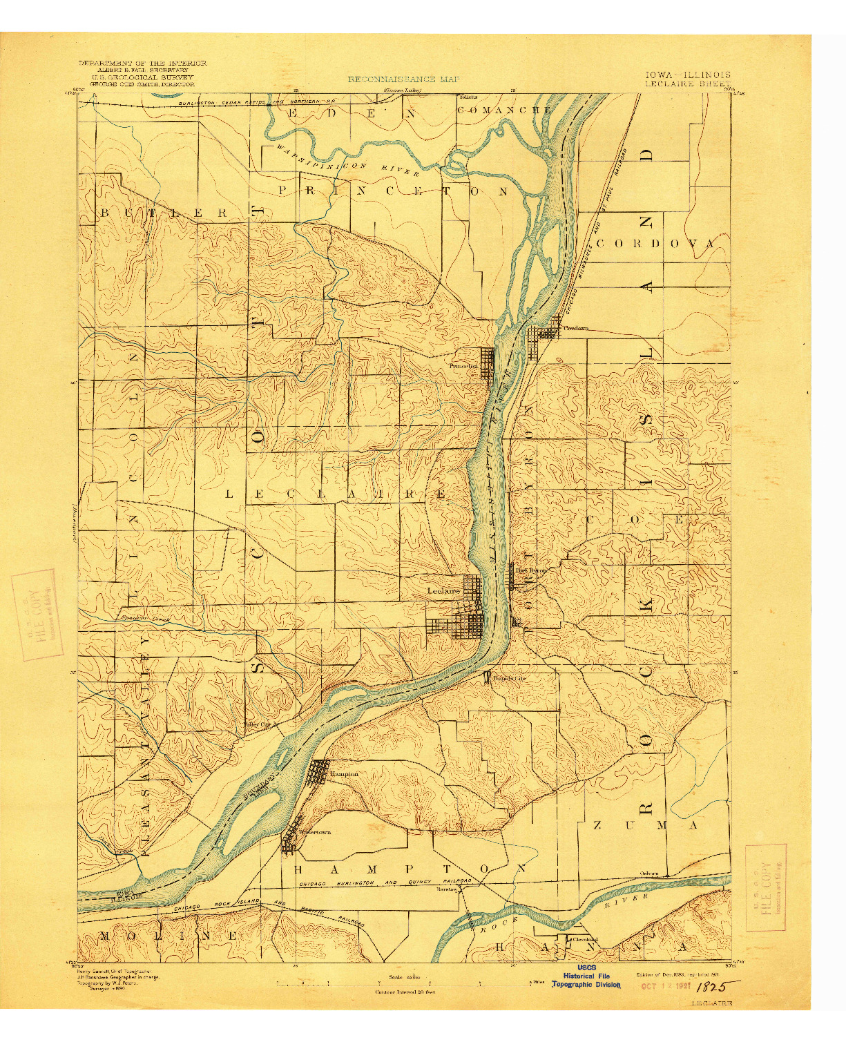 USGS 1:62500-SCALE QUADRANGLE FOR LECLAIRE, IA 1893