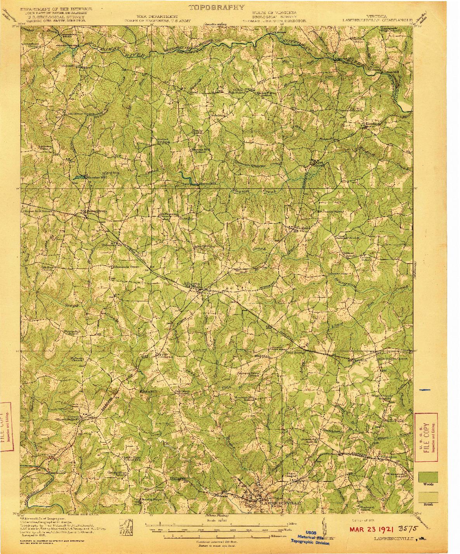 USGS 1:62500-SCALE QUADRANGLE FOR LAWRENCEVILLE, VA 1921