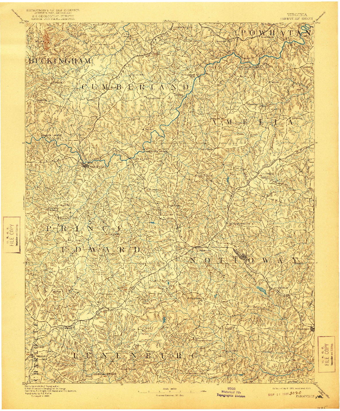 USGS 1:125000-SCALE QUADRANGLE FOR FARMVILLE, VA 1893