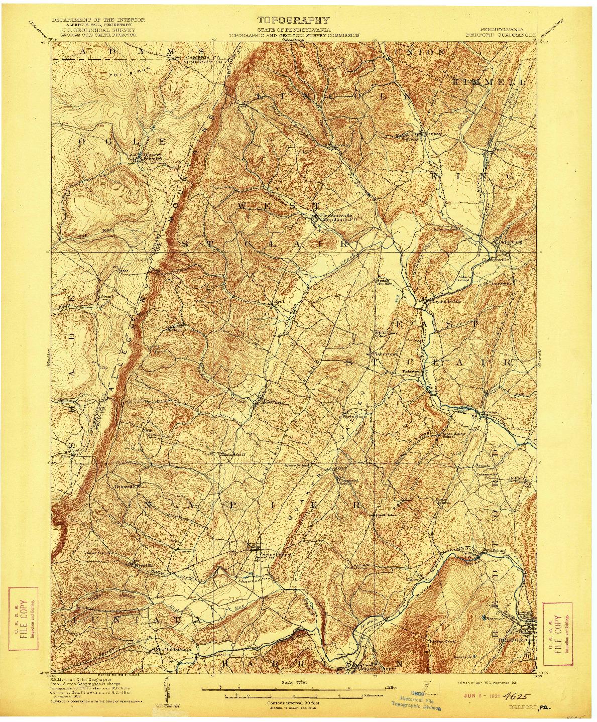 USGS 1:62500-SCALE QUADRANGLE FOR BEDFORD, PA 1910