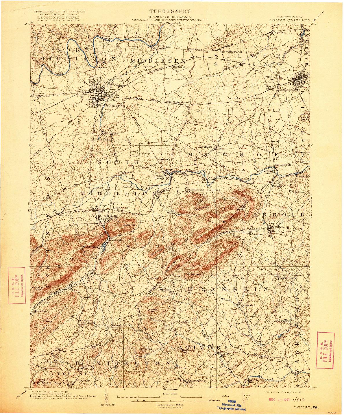 USGS 1:62500-SCALE QUADRANGLE FOR CARLISLE, PA 1904