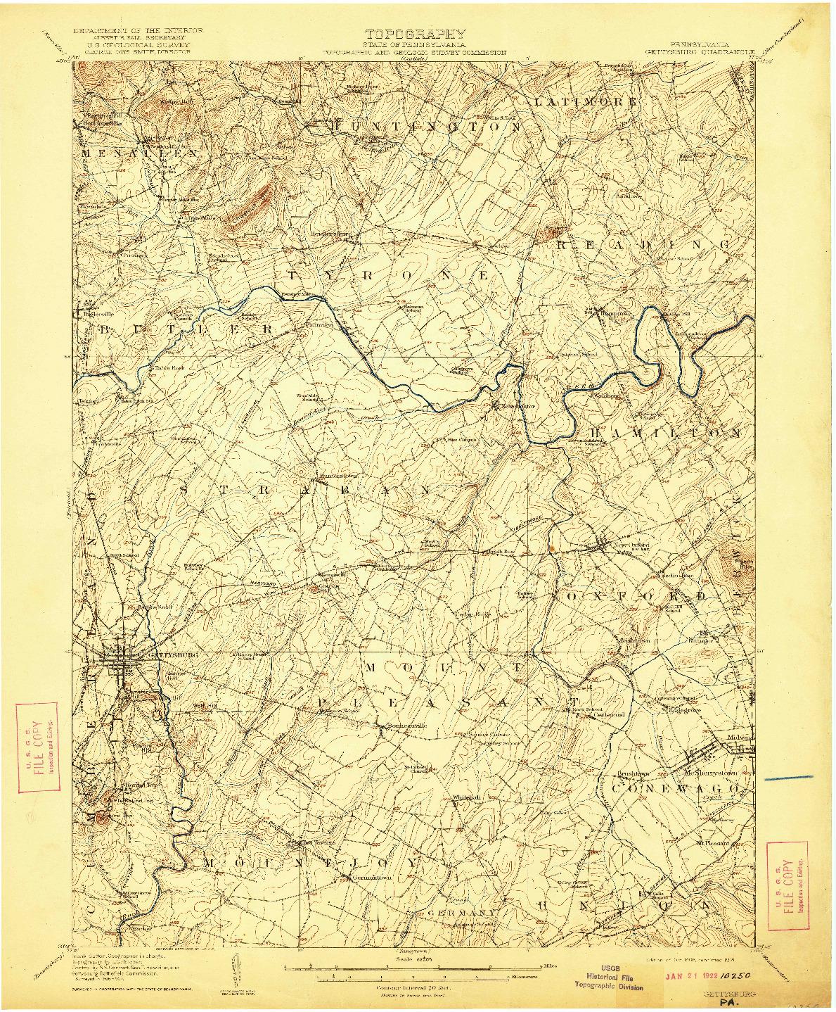 USGS 1:62500-SCALE QUADRANGLE FOR GETTYSBURG, PA 1908
