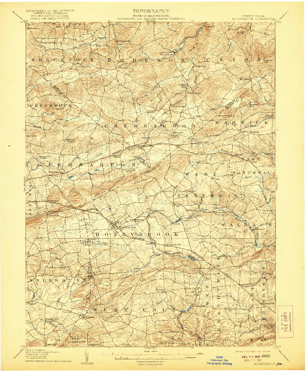 USGS 1:62500-SCALE QUADRANGLE FOR HONEYBROOK, PA 1907