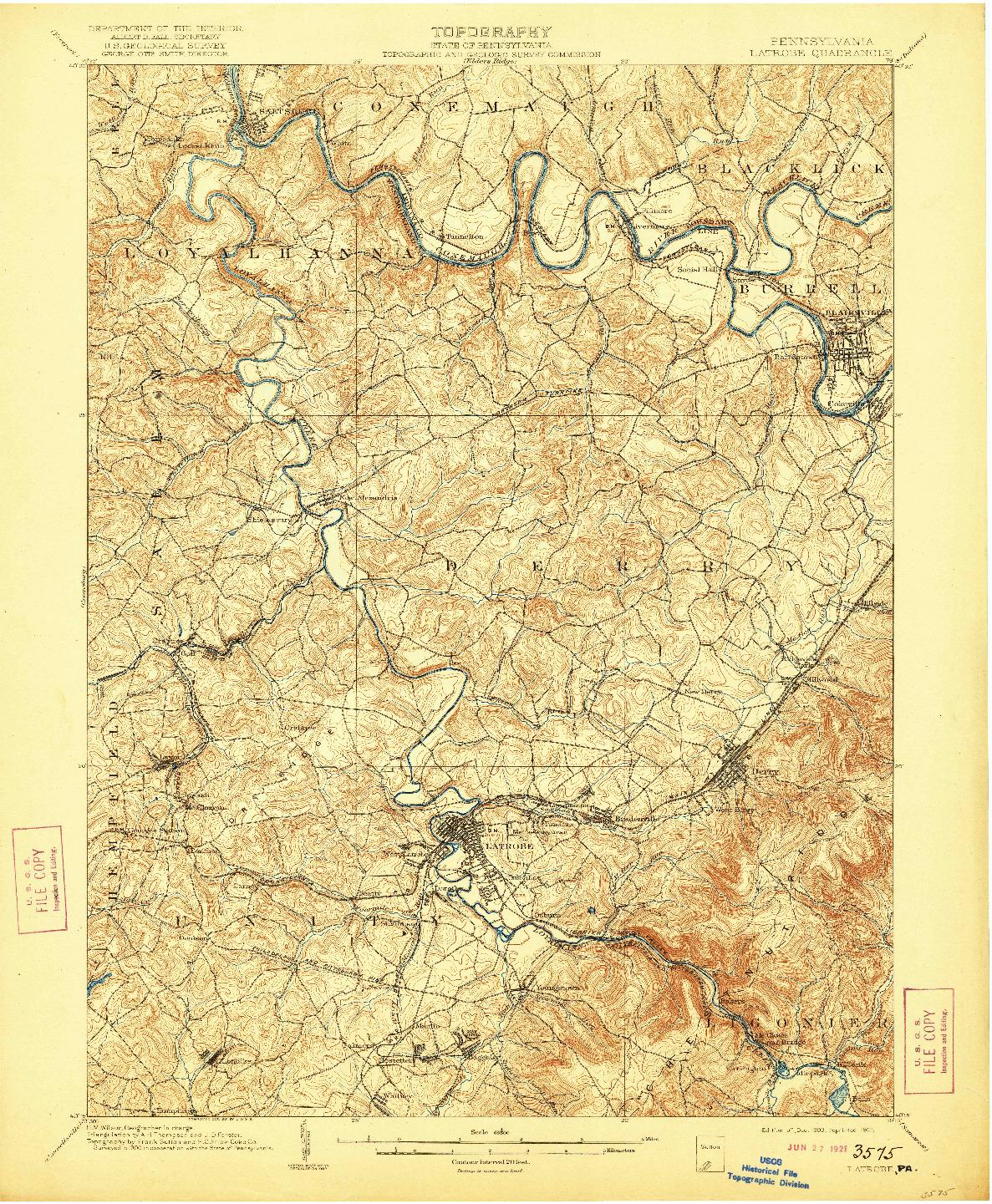 USGS 1:62500-SCALE QUADRANGLE FOR LATROBE, PA 1903