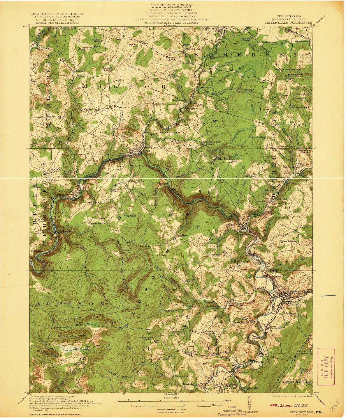 USGS 1:62500-SCALE QUADRANGLE FOR MEYERSDALE, PA 1921