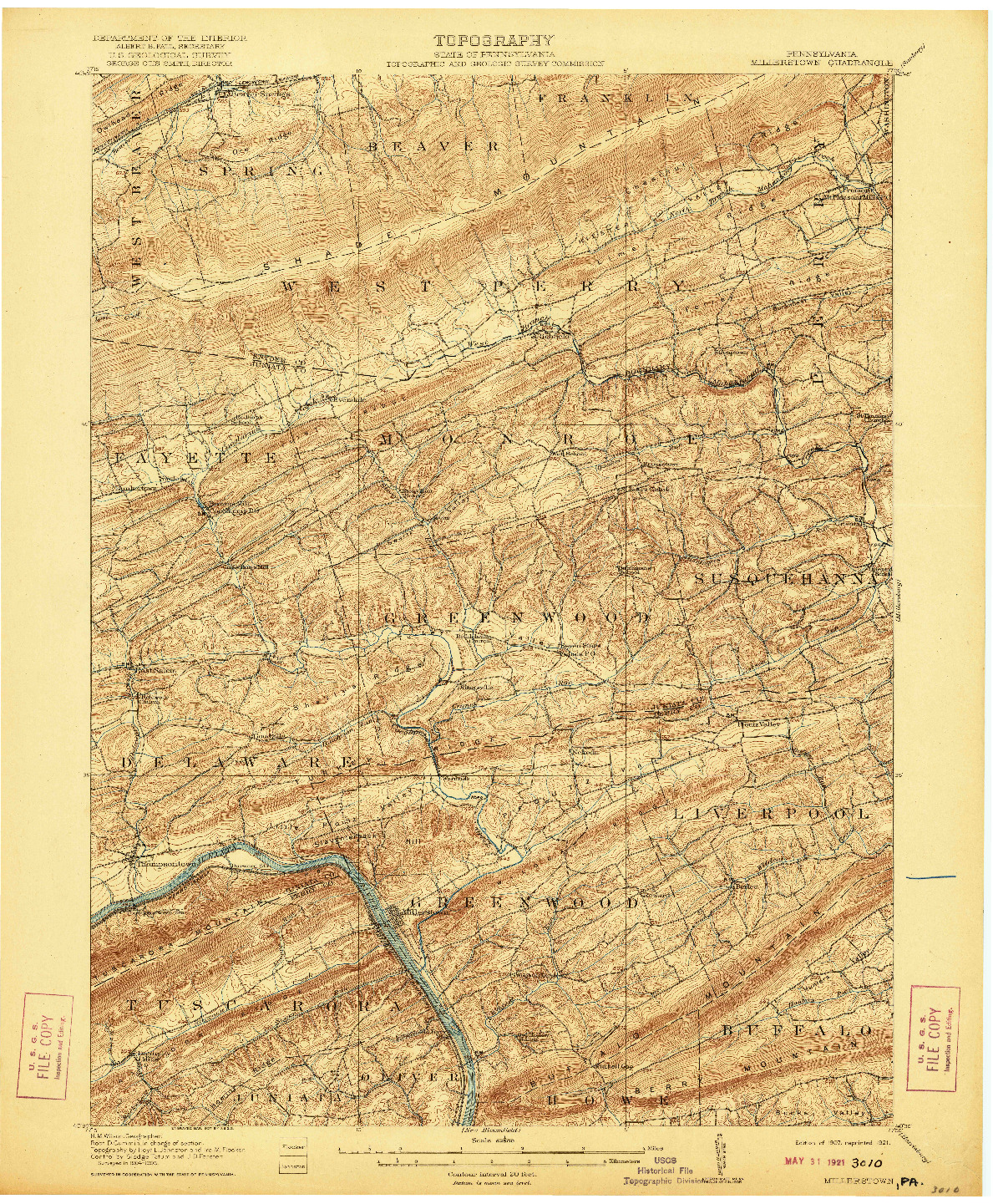 USGS 1:62500-SCALE QUADRANGLE FOR MILLERSTOWN, PA 1907