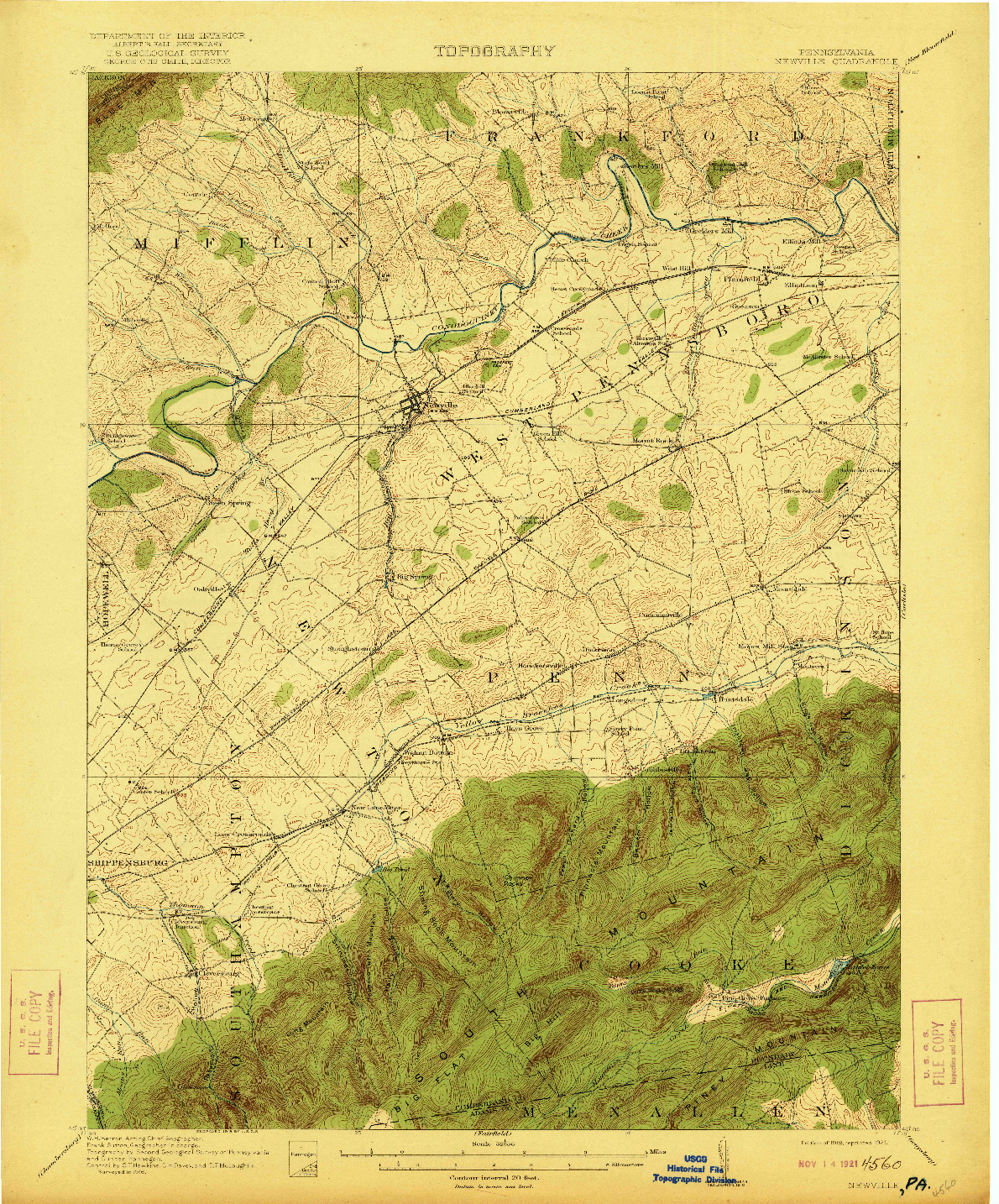 USGS 1:62500-SCALE QUADRANGLE FOR NEWVILLE, PA 1919
