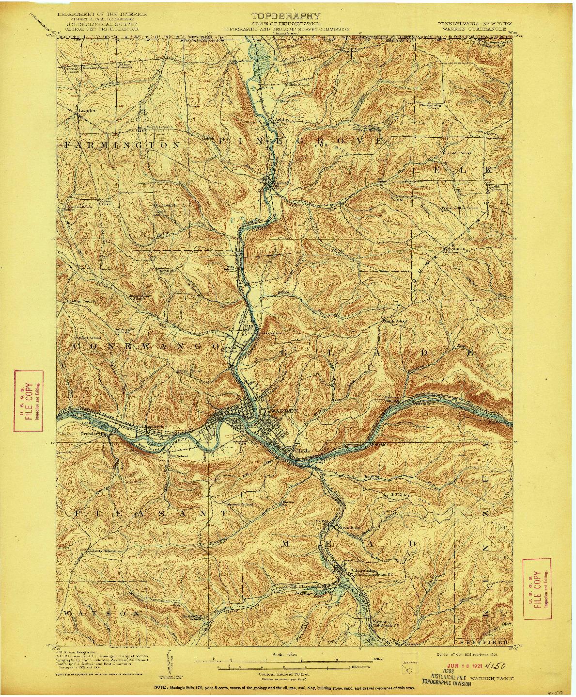 USGS 1:62500-SCALE QUADRANGLE FOR WARREN, PA 1908