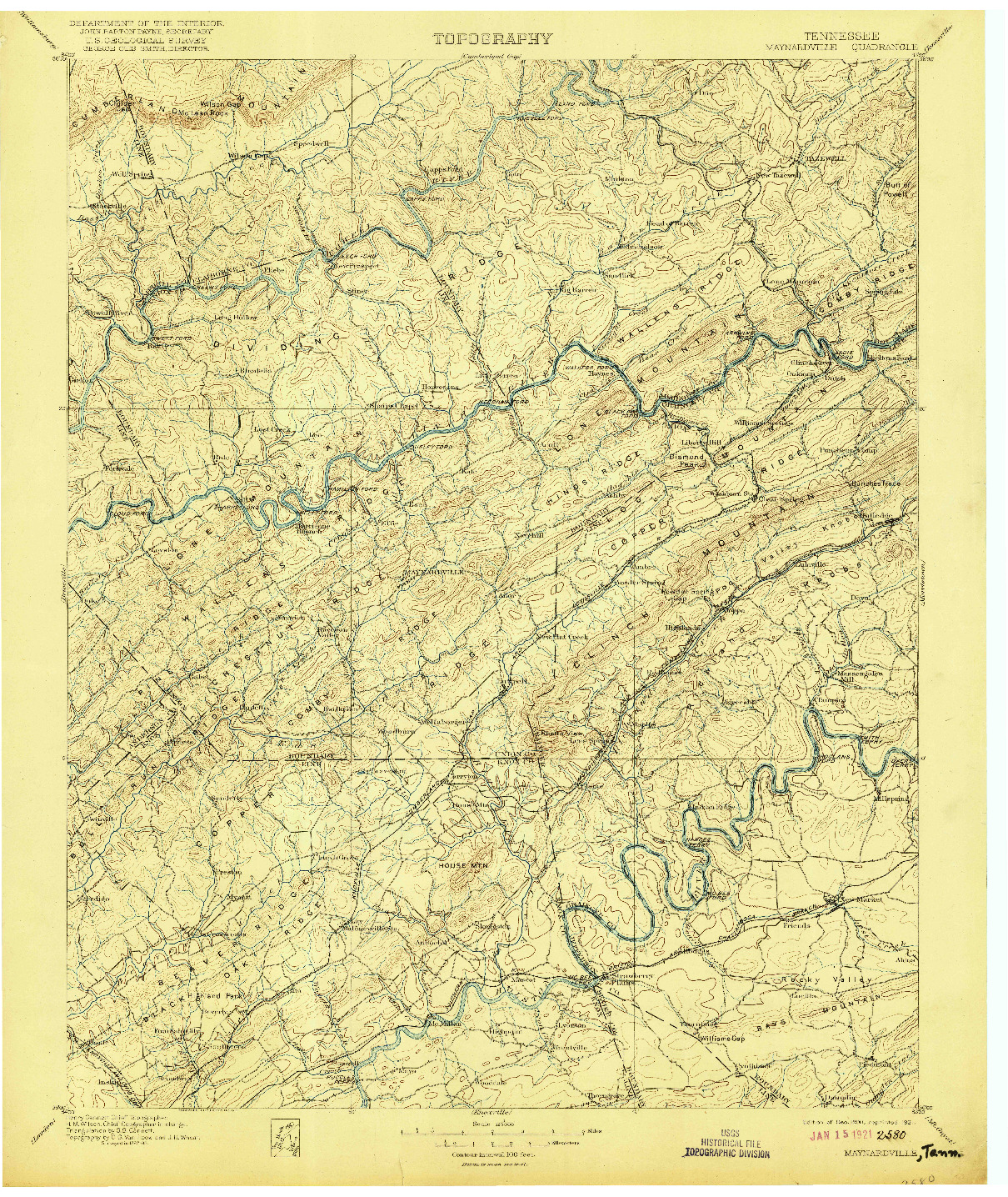 USGS 1:125000-SCALE QUADRANGLE FOR MAYNARDVILLE, TN 1900