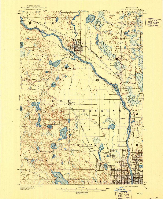 USGS 1:62500-SCALE QUADRANGLE FOR ANOKA, MN 1902