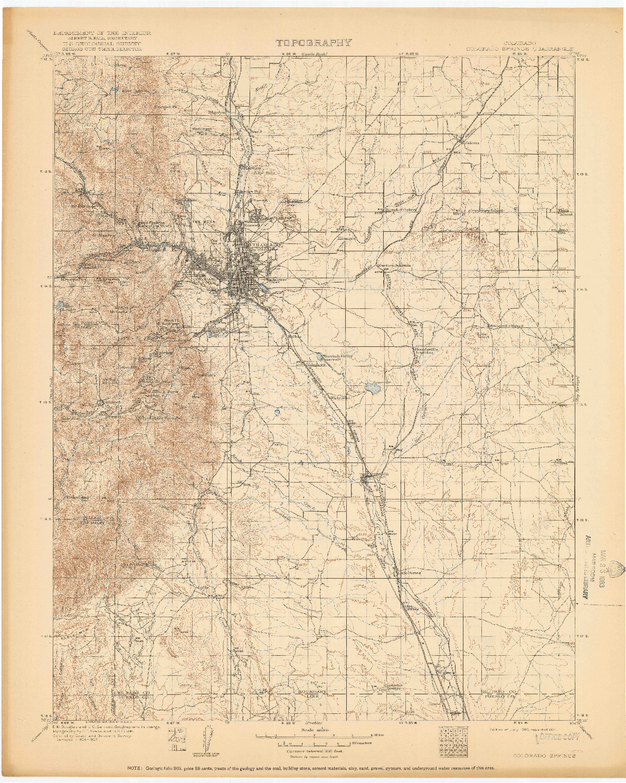 USGS 1:125000-SCALE QUADRANGLE FOR COLORADO SPRINGS, CO 1909